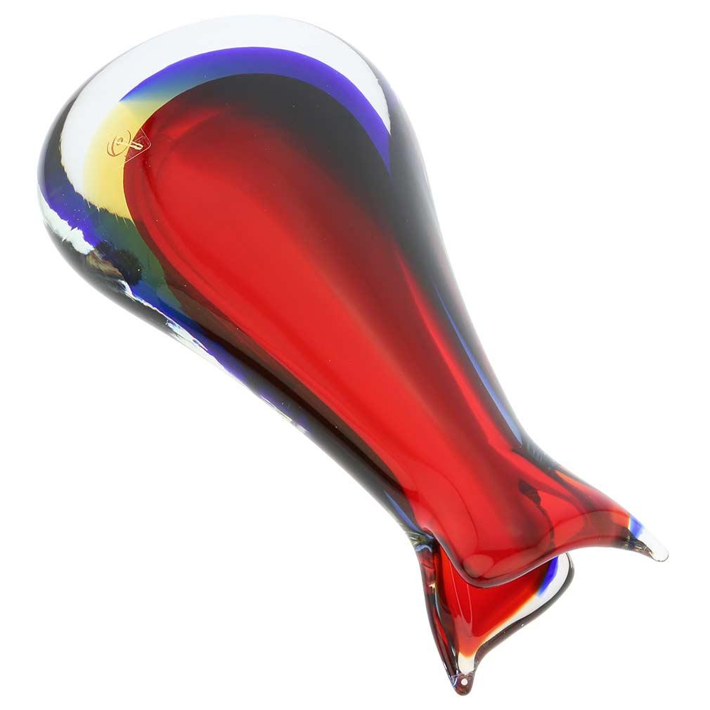 Murano Glass Sommerso Bud Vase - Red Blue Amber