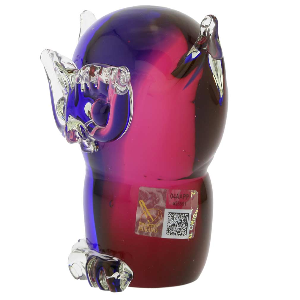 Murano Glass Owl - Rose and Blue