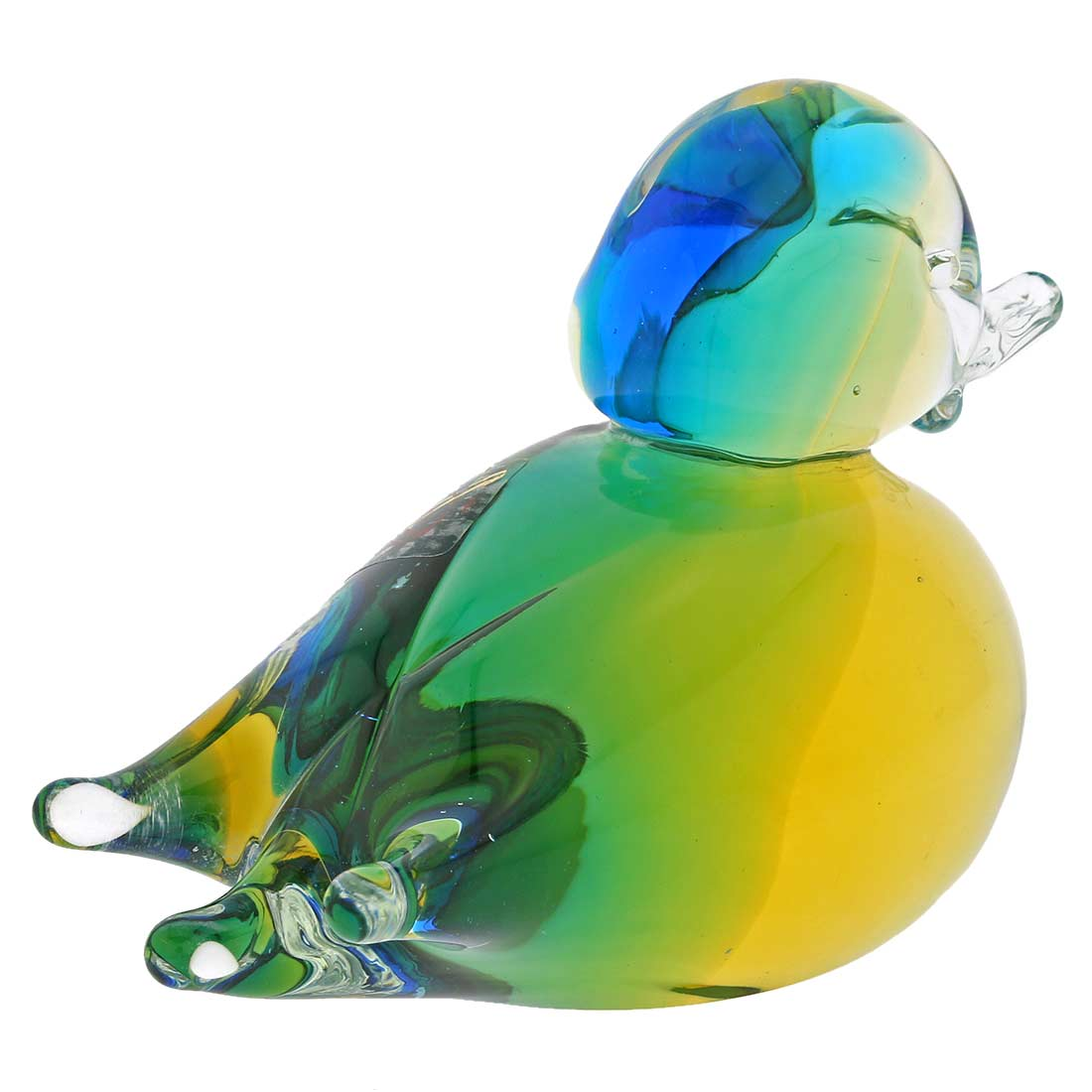 Murano Glass Duck - Amber Aqua