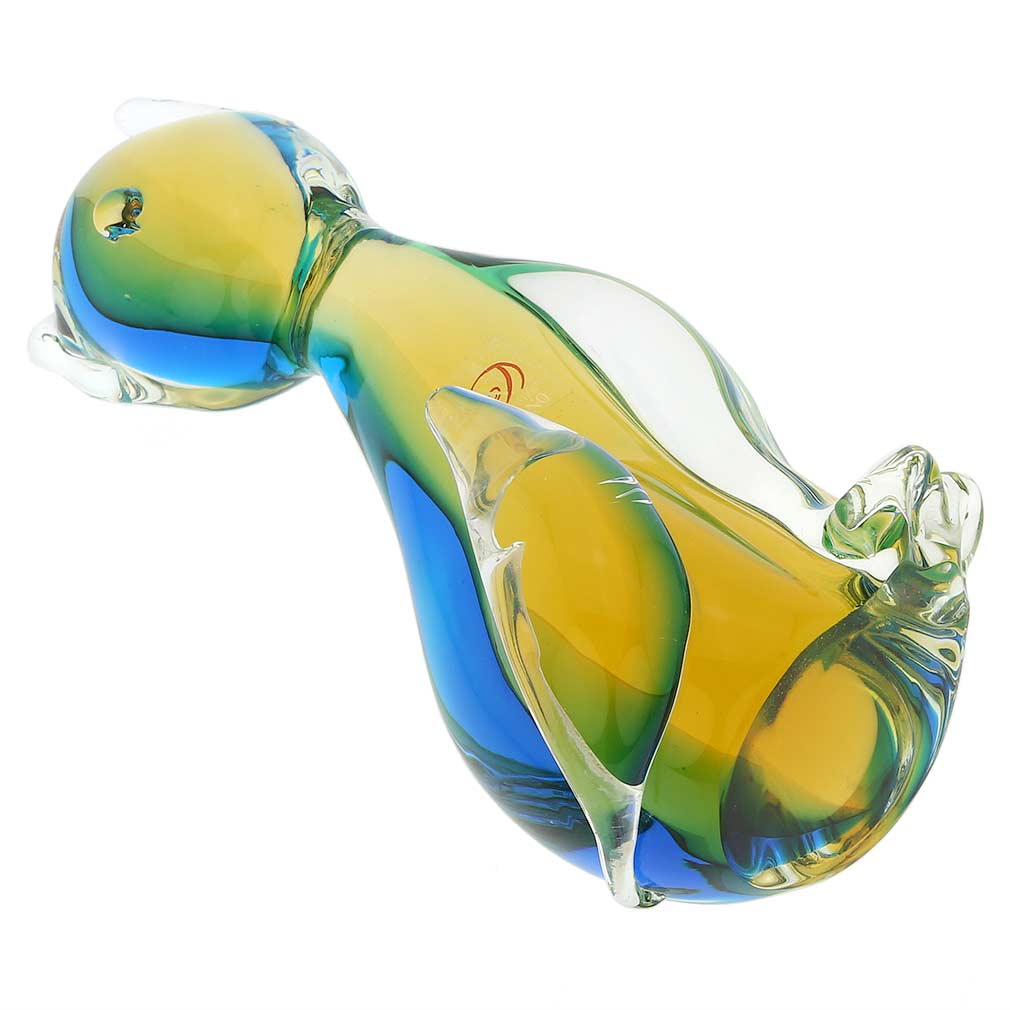 Murano Glass Cat - Amber Aqua