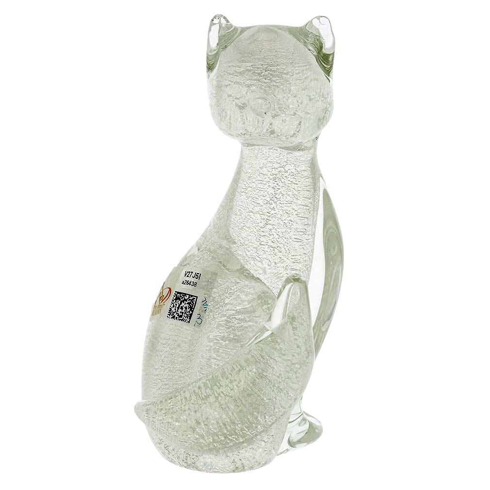 Murano Glass Cat - Sparkling Silver