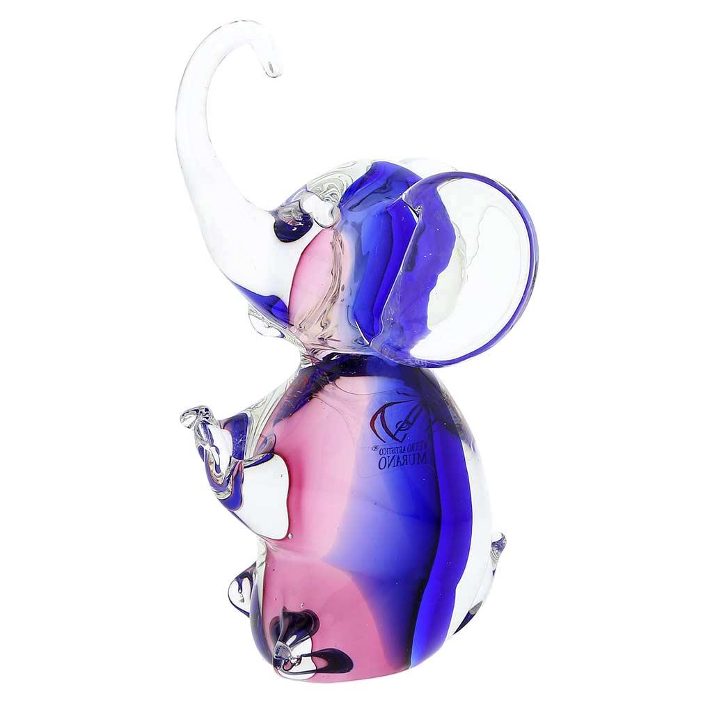 Murano Glass Elephant - Rose and Blue
