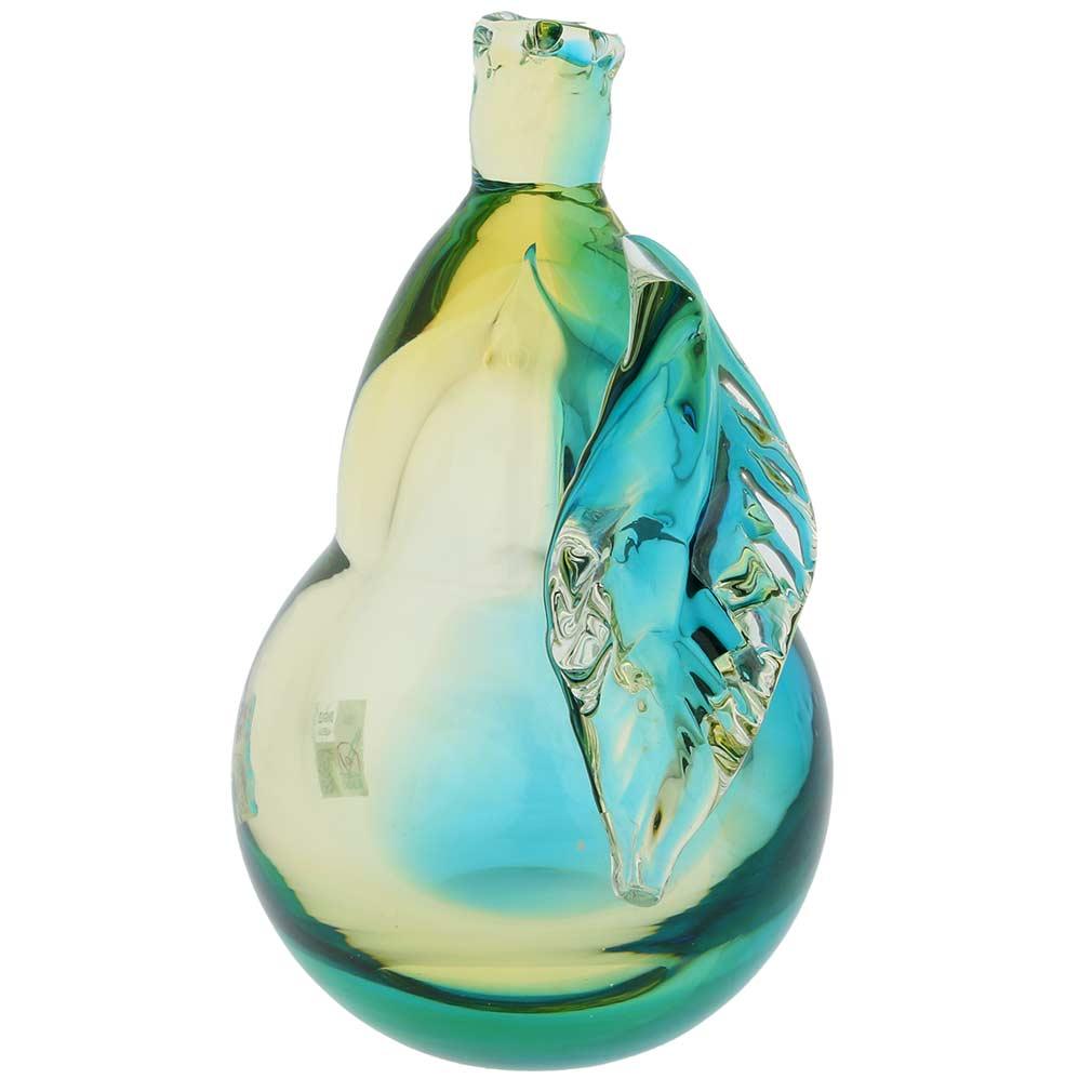 Murano Glass Pear - Amber Aqua