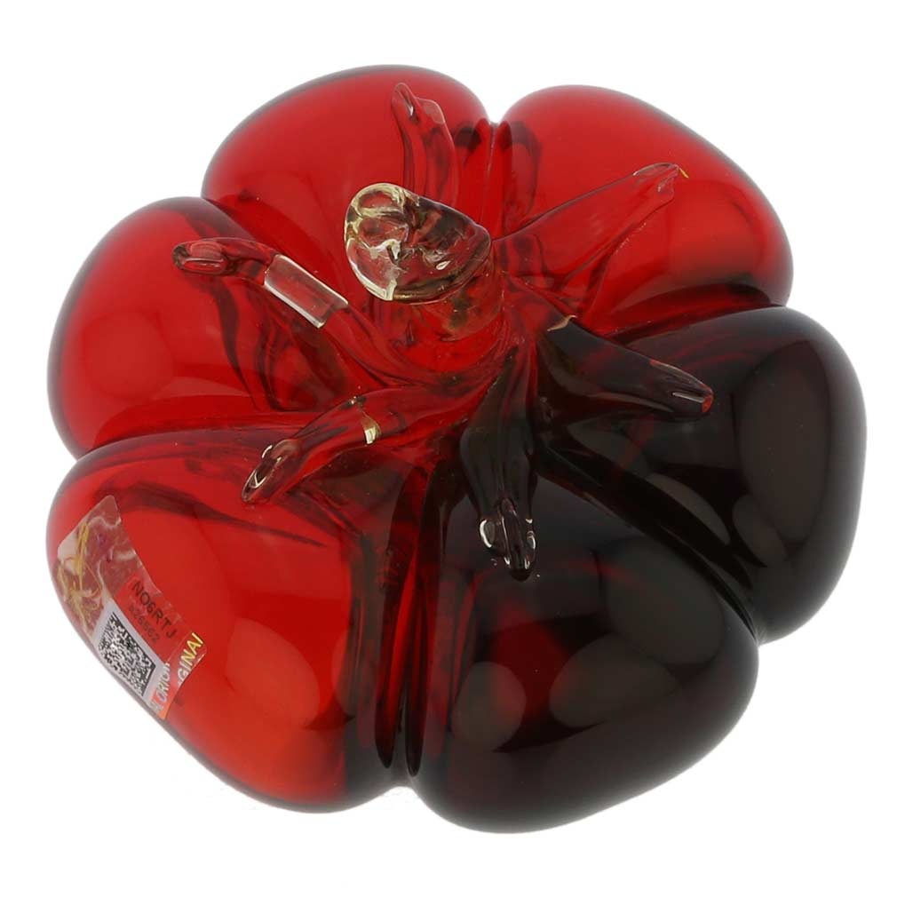Murano Glass Tomato - Red Blue Amber