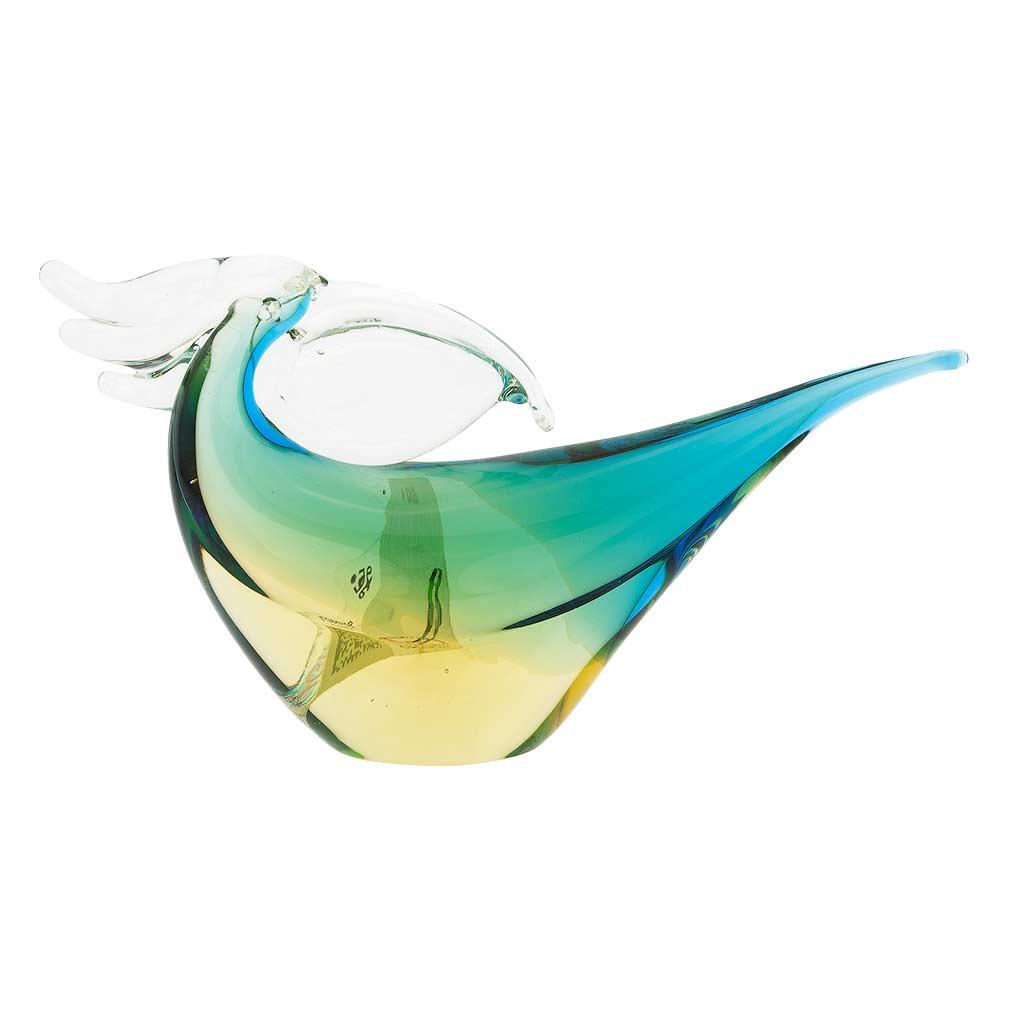 Murano Glass Toucan - Amber Aqua