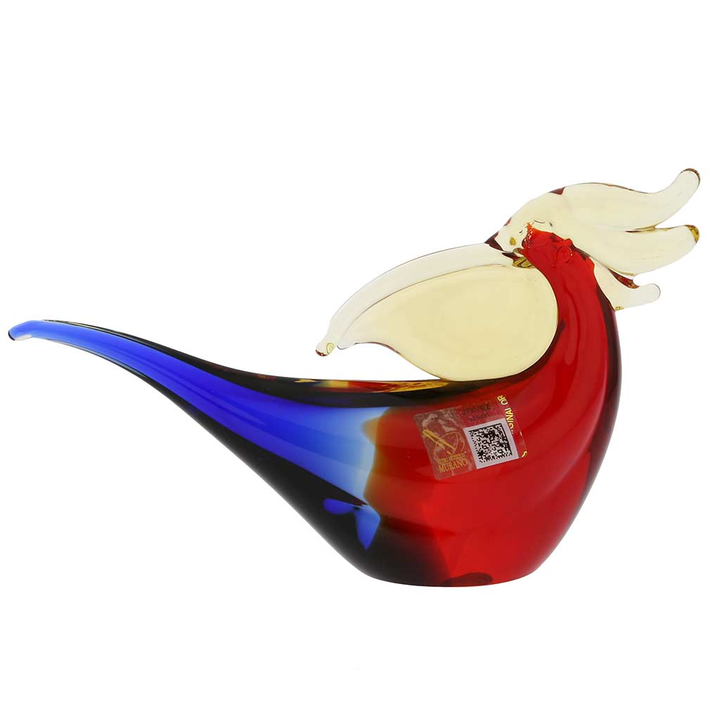 Murano Glass Toucan - Red Blue Amber