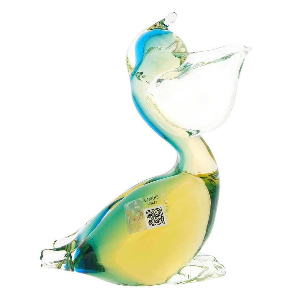 Murano Glass Pelican Bird - Amber Aqua