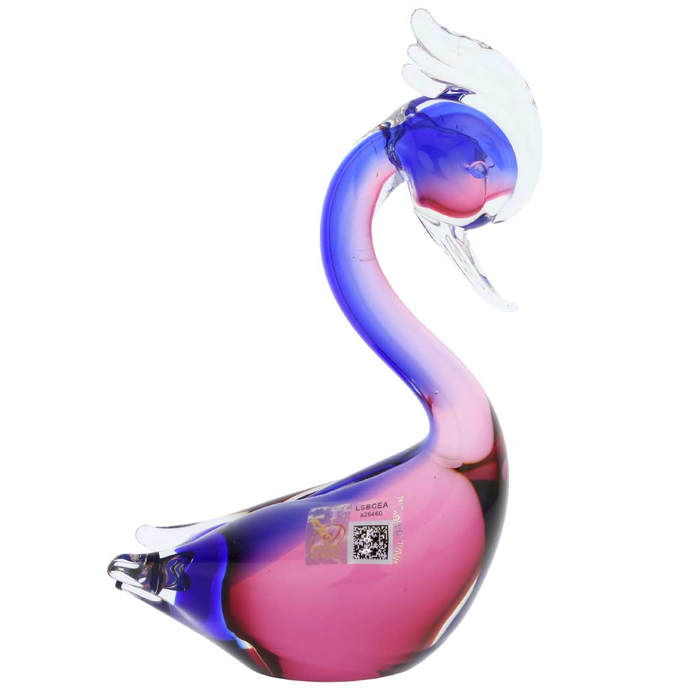 Murano Glass Swan - Rose and Blue