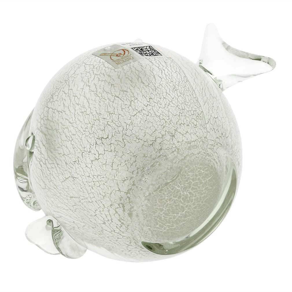 Murano Glass Round Fish - Sparkling Silver