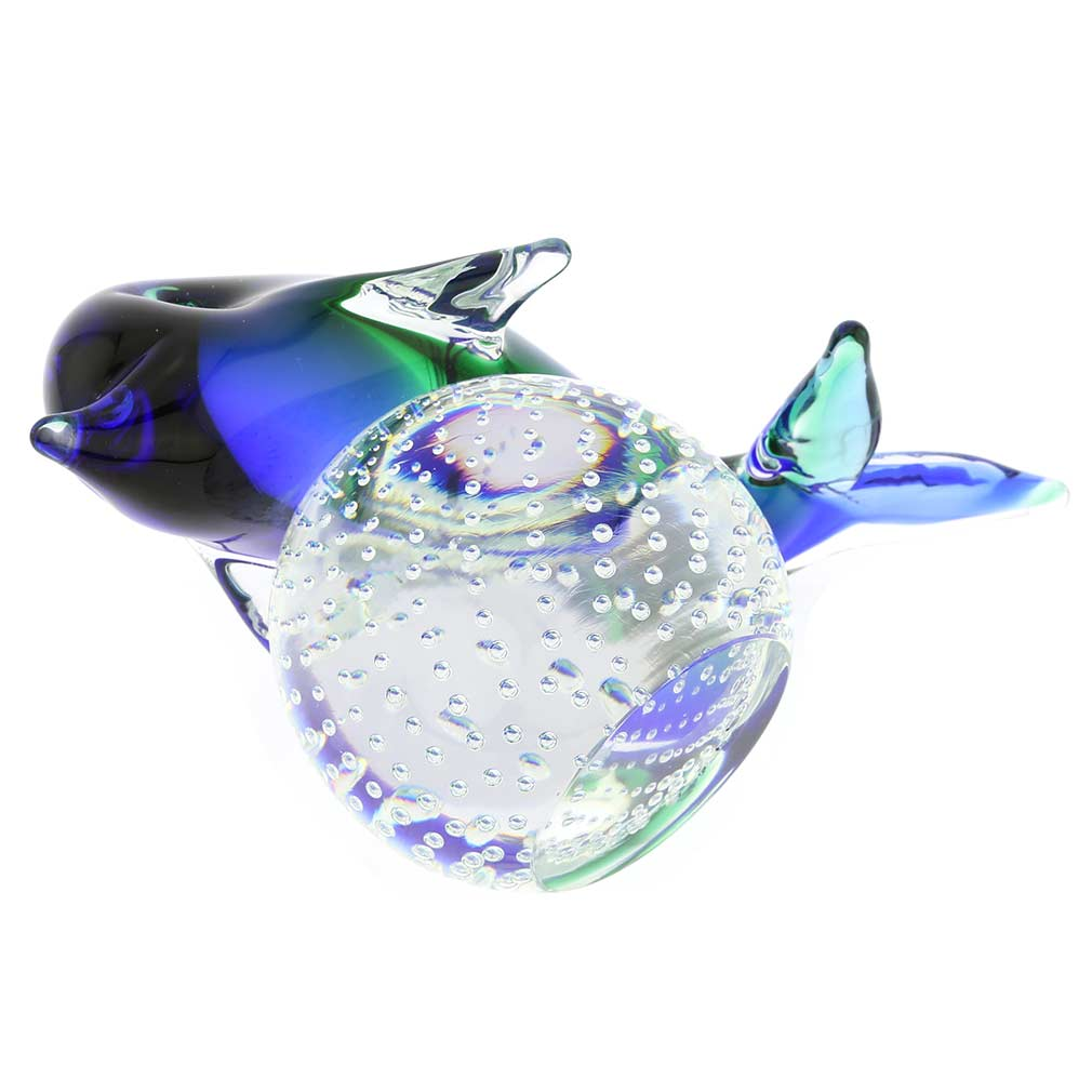 Murano Glass Dolphin On Base - Blue and Green