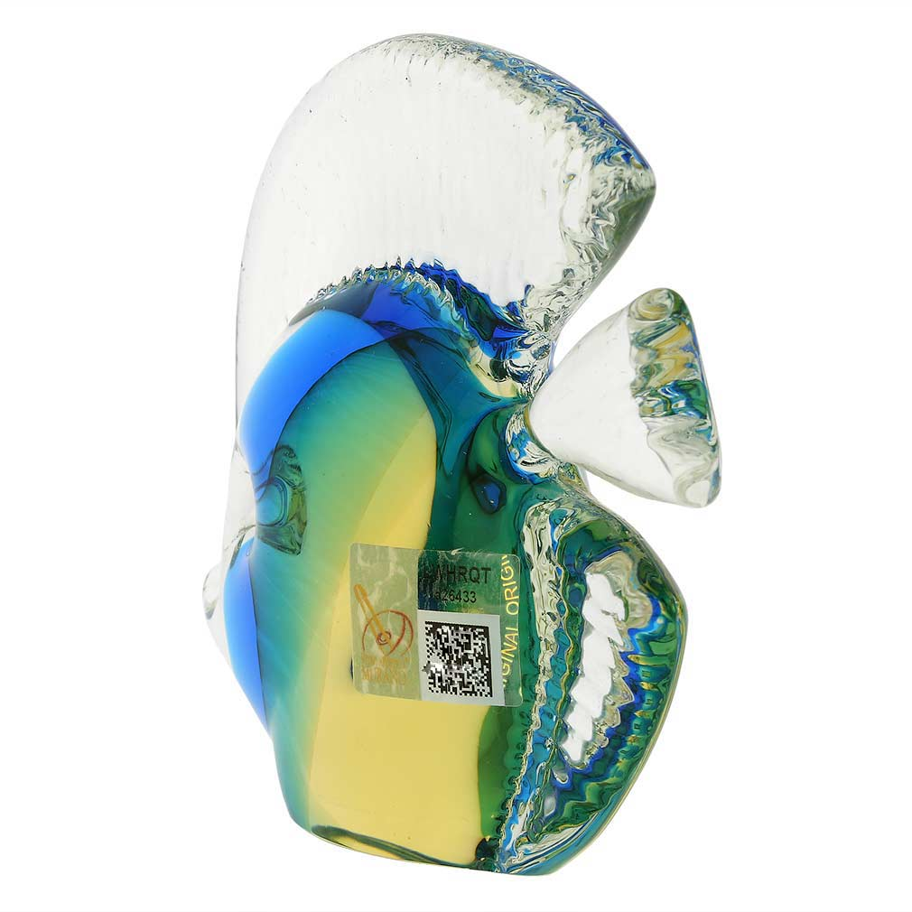 Murano Glass Tropical Fish - Amber Aqua