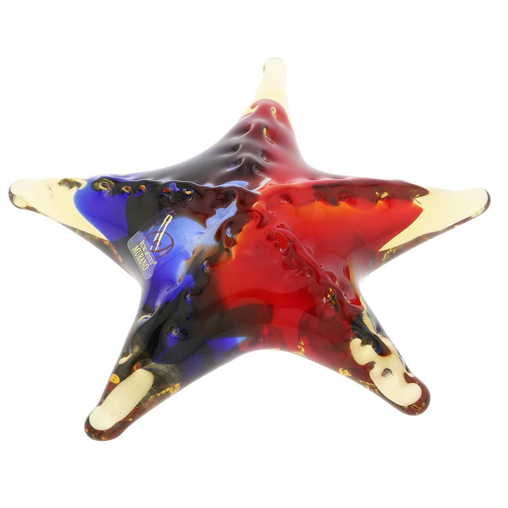 Murano Glass Starfish - Red Blue Amber