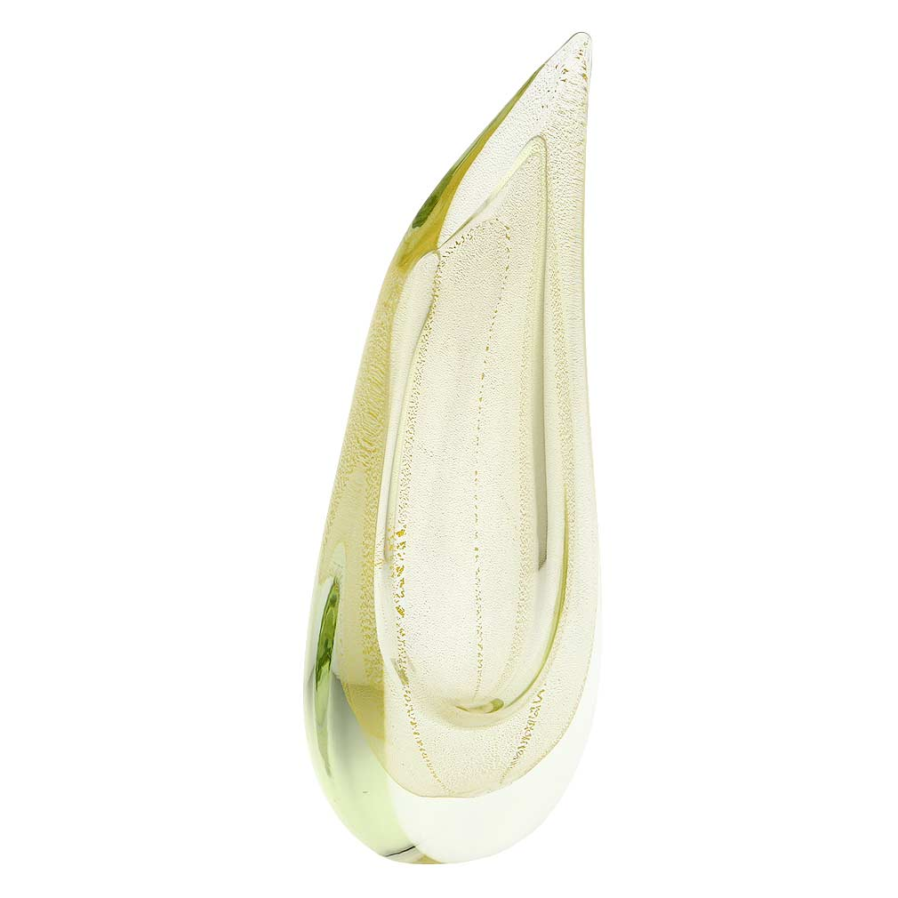 Murano Glass Sommerso Wave Vase - Sparkling Gold