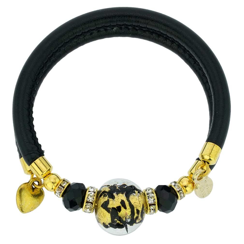 Dorato Murano Glass Leather Bracelet - Black