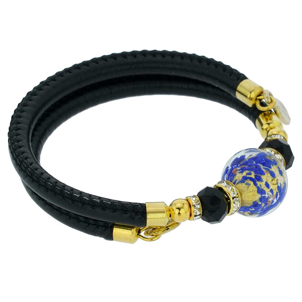 Dorato Murano Glass Leather Bracelet - Blue