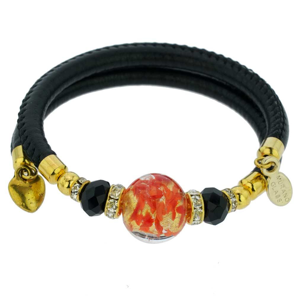Dorato Murano Glass Leather Bracelet - Red