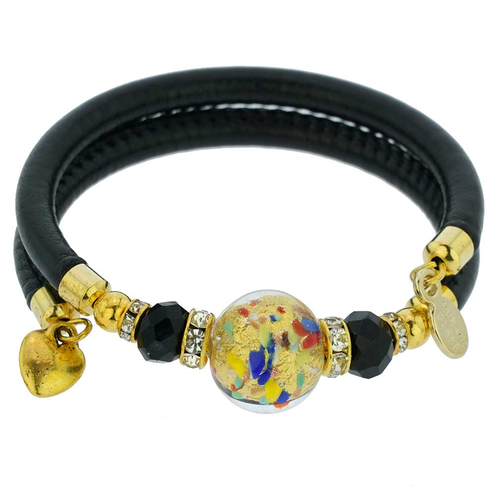Dorato Murano Glass Leather Bracelet - Multicolor Confetti