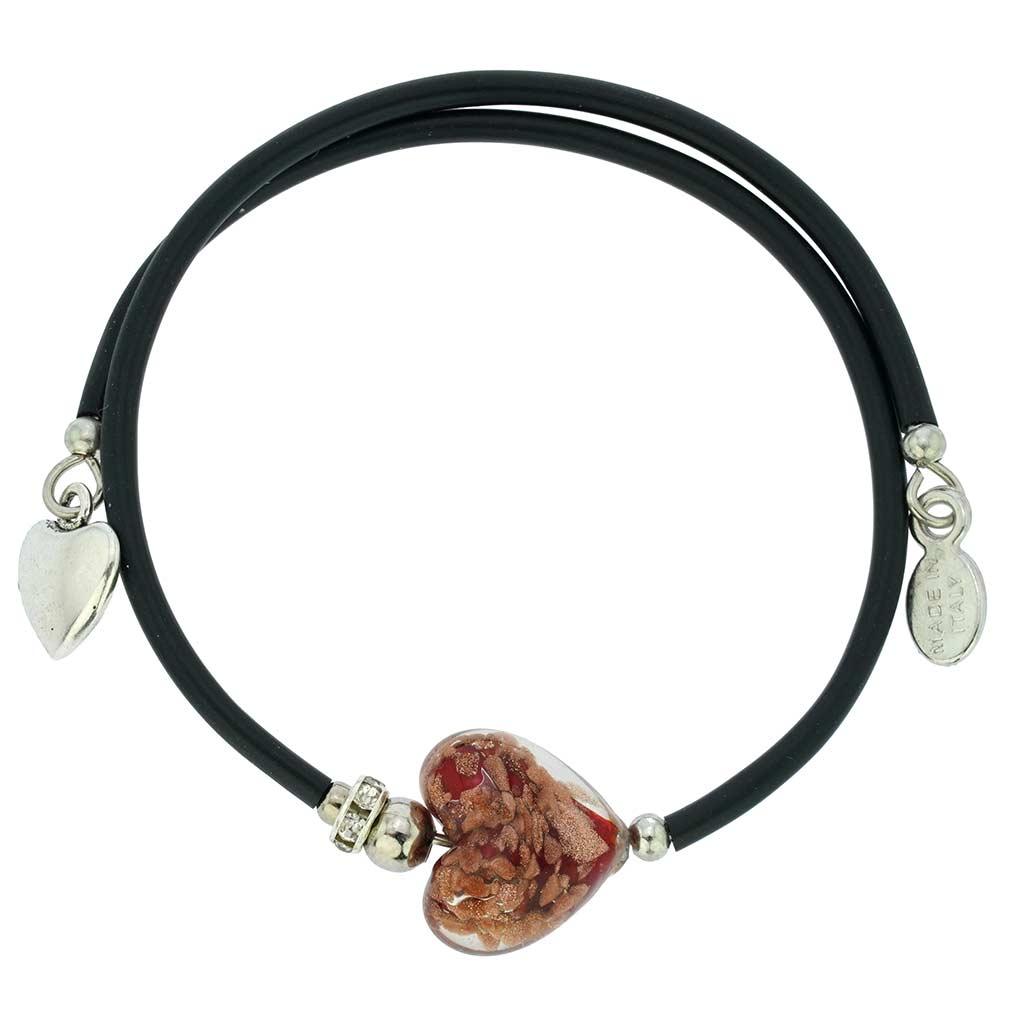 Venetian Glamour Heart Bracelet - Red Sparkles
