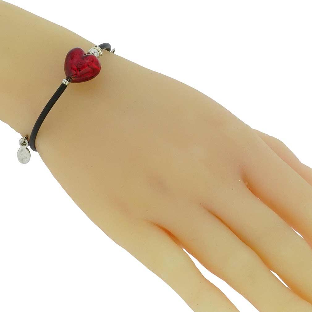 Venetian Glamour Heart Bracelet - Red