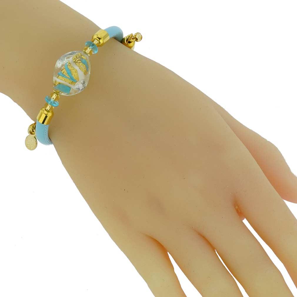 Delizia Murano Glass Leather Bracelet - Aqua Blue