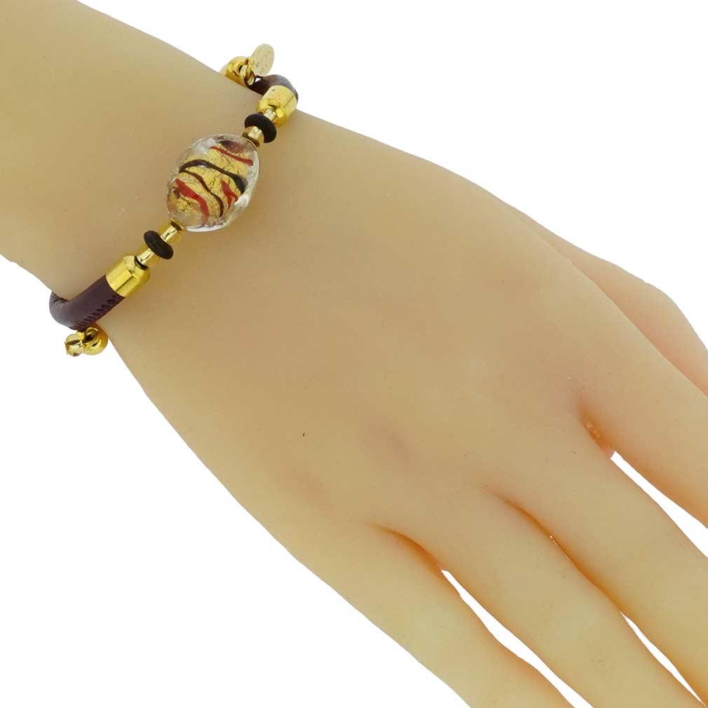 Delizia Murano Glass Leather Bracelet - Burgundy