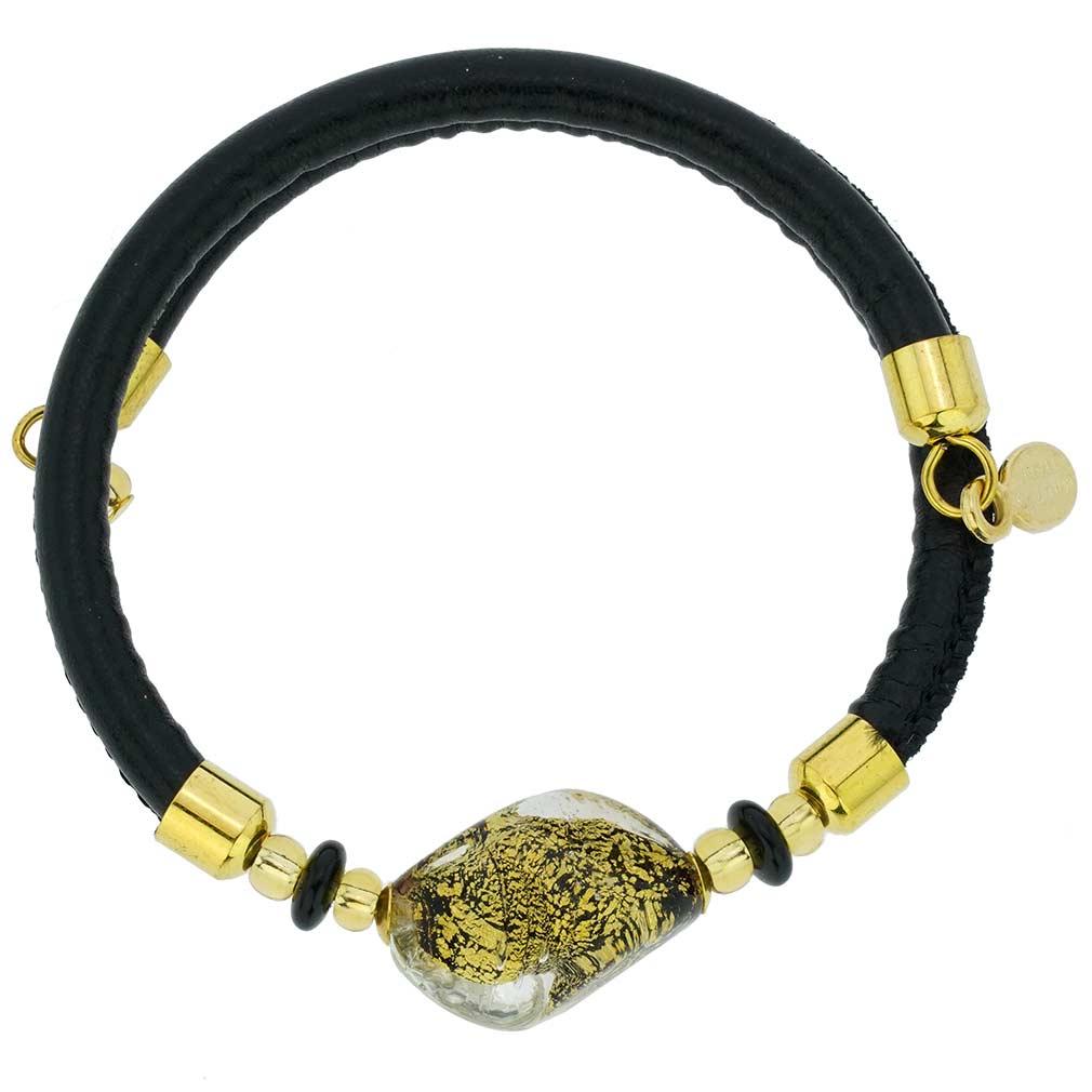 Delizia Murano Glass Leather Bracelet - Black