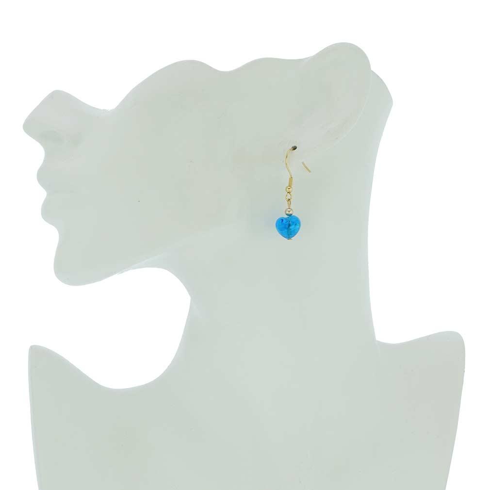 Small Murano Heart Earrings - Blue Snow