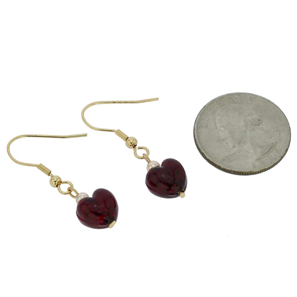 Small Murano Heart Earrings - Ruby Red