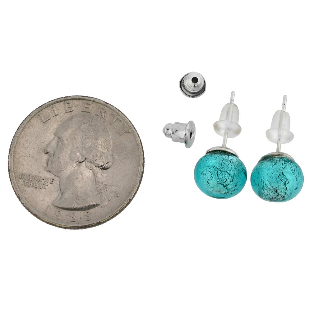 Murano Ball Stud Earrings - Teal
