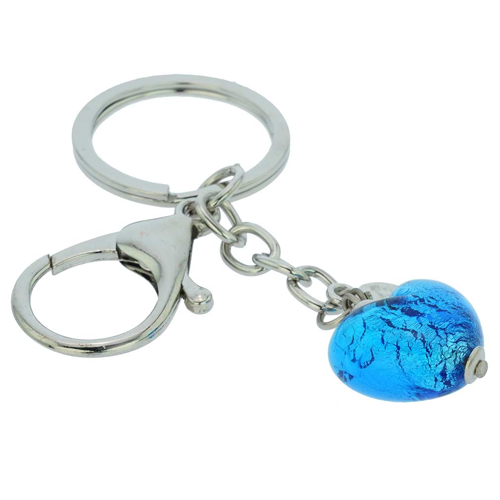 Murano Heart Keychain - Aqua Blue