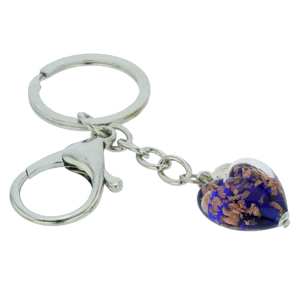 Murano Heart Keychain - Blue Sparkles