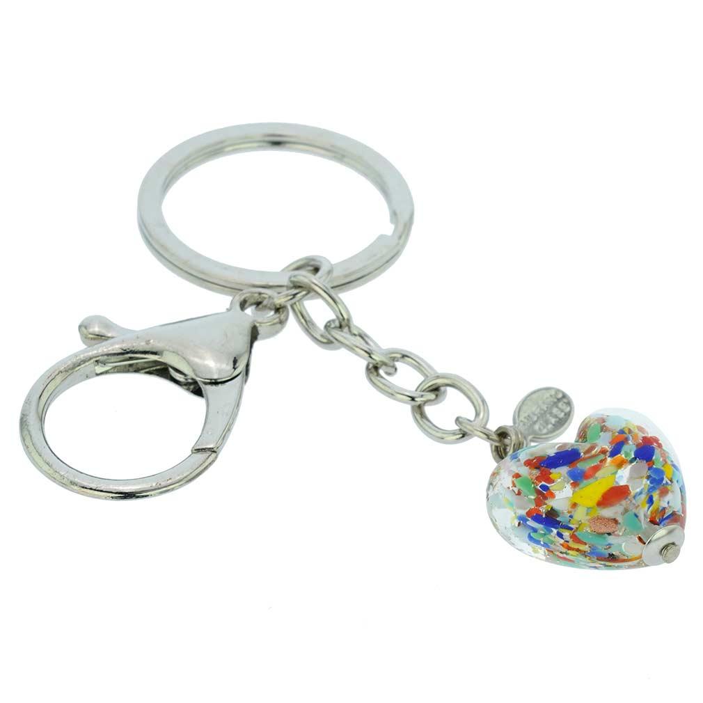 Murano Heart Keychain - Multicolor Confetti