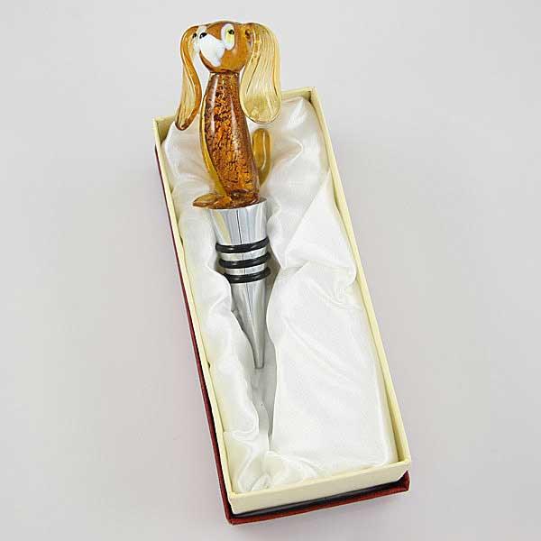 Murano Glass Dog bottle stopper - amber gold