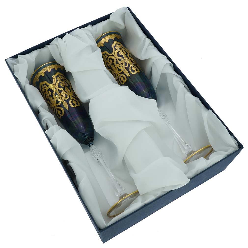 Set Of Two Murano Glass Alba Champagne Flutes - Blue