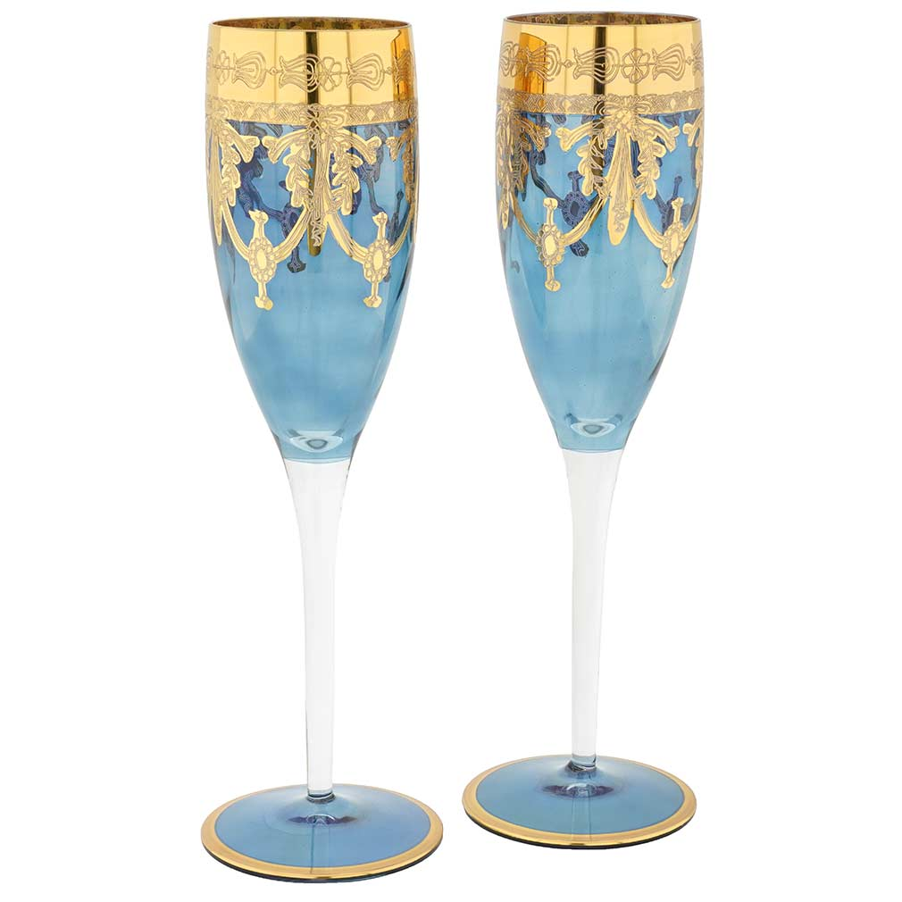 Set Of Two Murano Glass Champagne Flutes - Blue