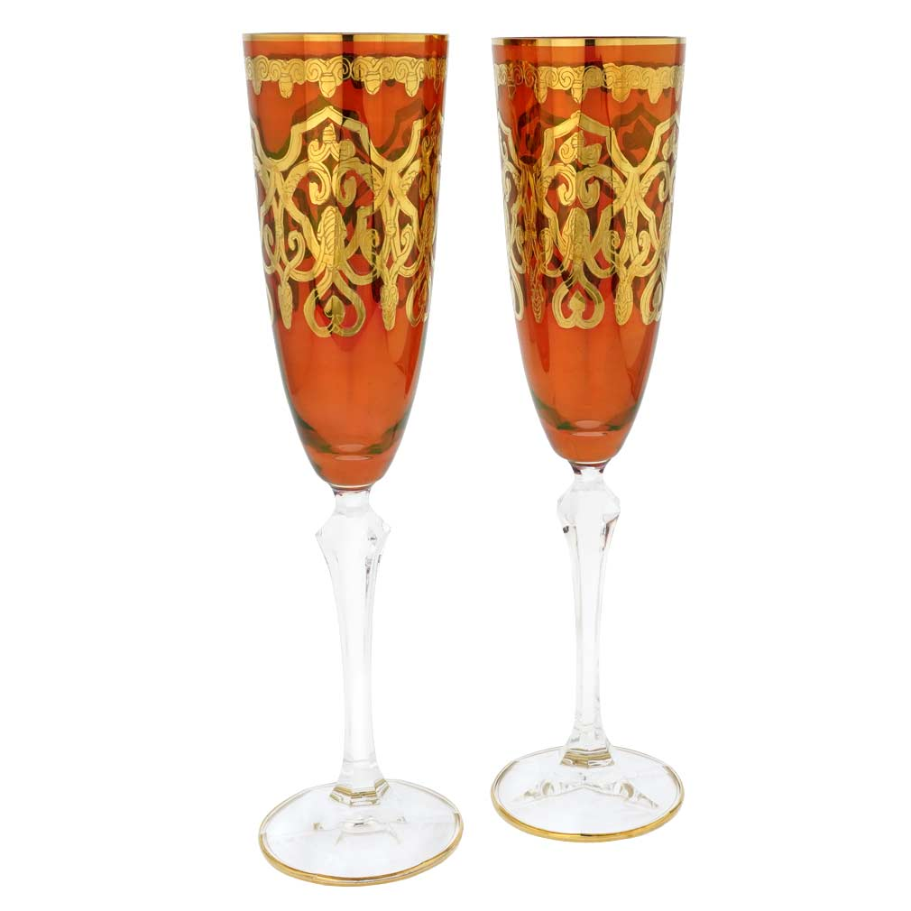 Set Of Two Murano Glass Champagne Flutes - Red