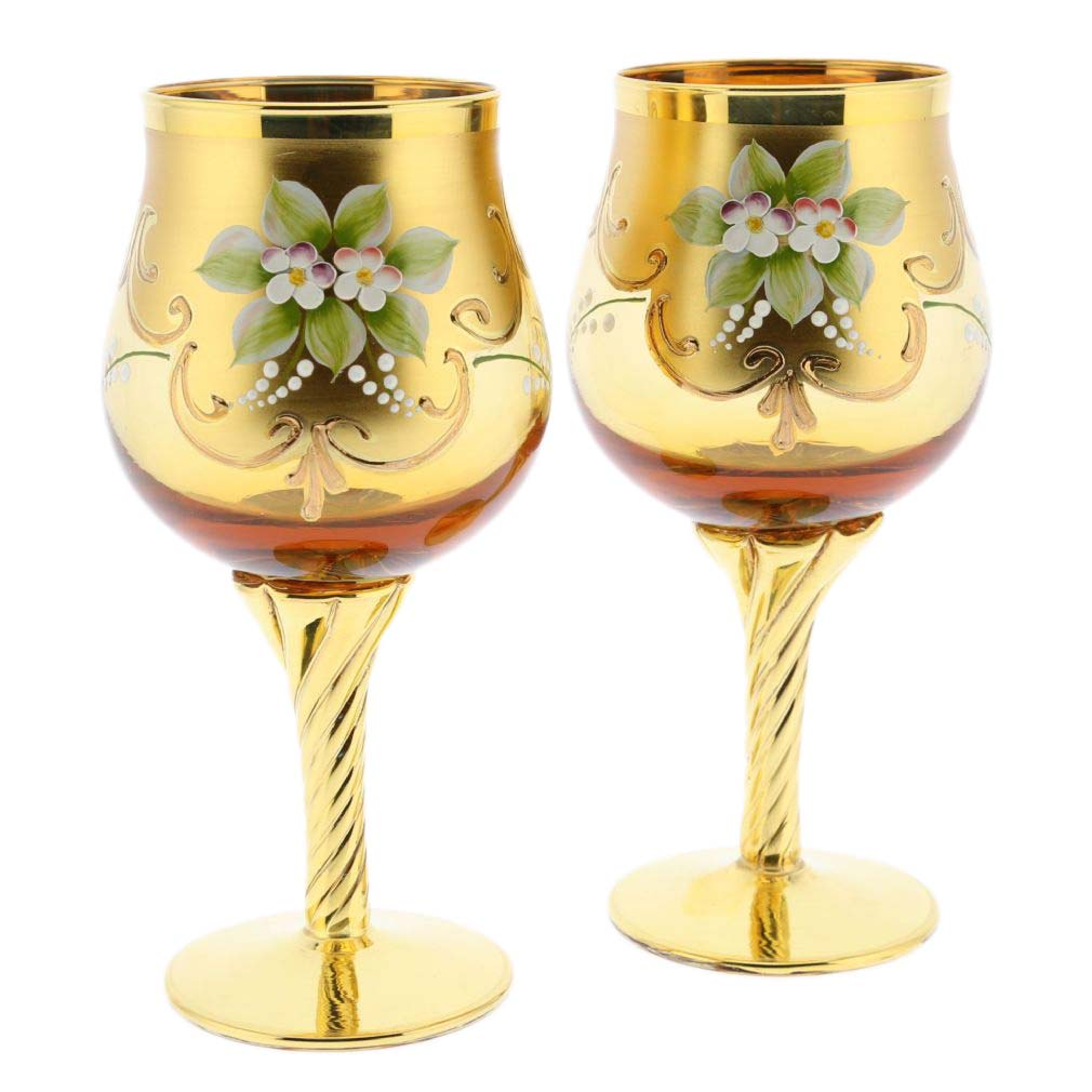 Set of Two Murano Glass Wine Glasses 24K Gold Leaf - Amber