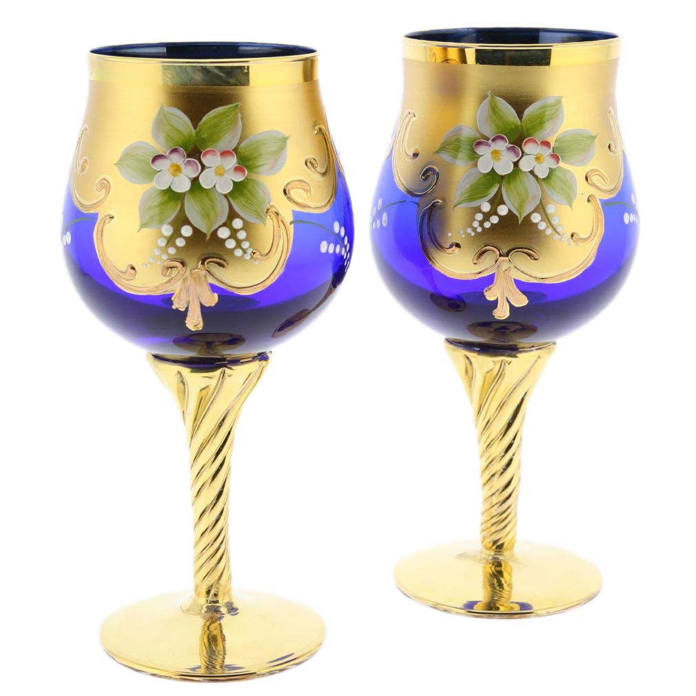glassofvenice set of two murano glass wine glasses 24k. Black Bedroom Furniture Sets. Home Design Ideas