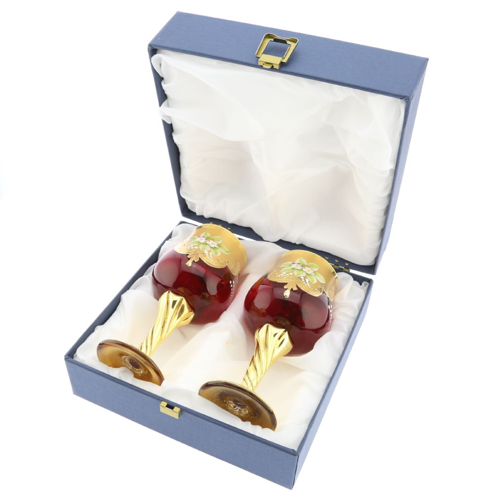 Set Of Two Murano Glass Wine Glasses 24K Gold Leaf - Red