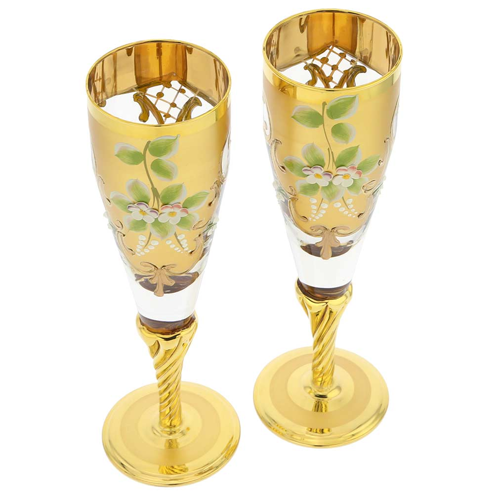 Set Of Two Figaro Murano Glass Champagne Flutes 24K Gold Leaf - Transparent