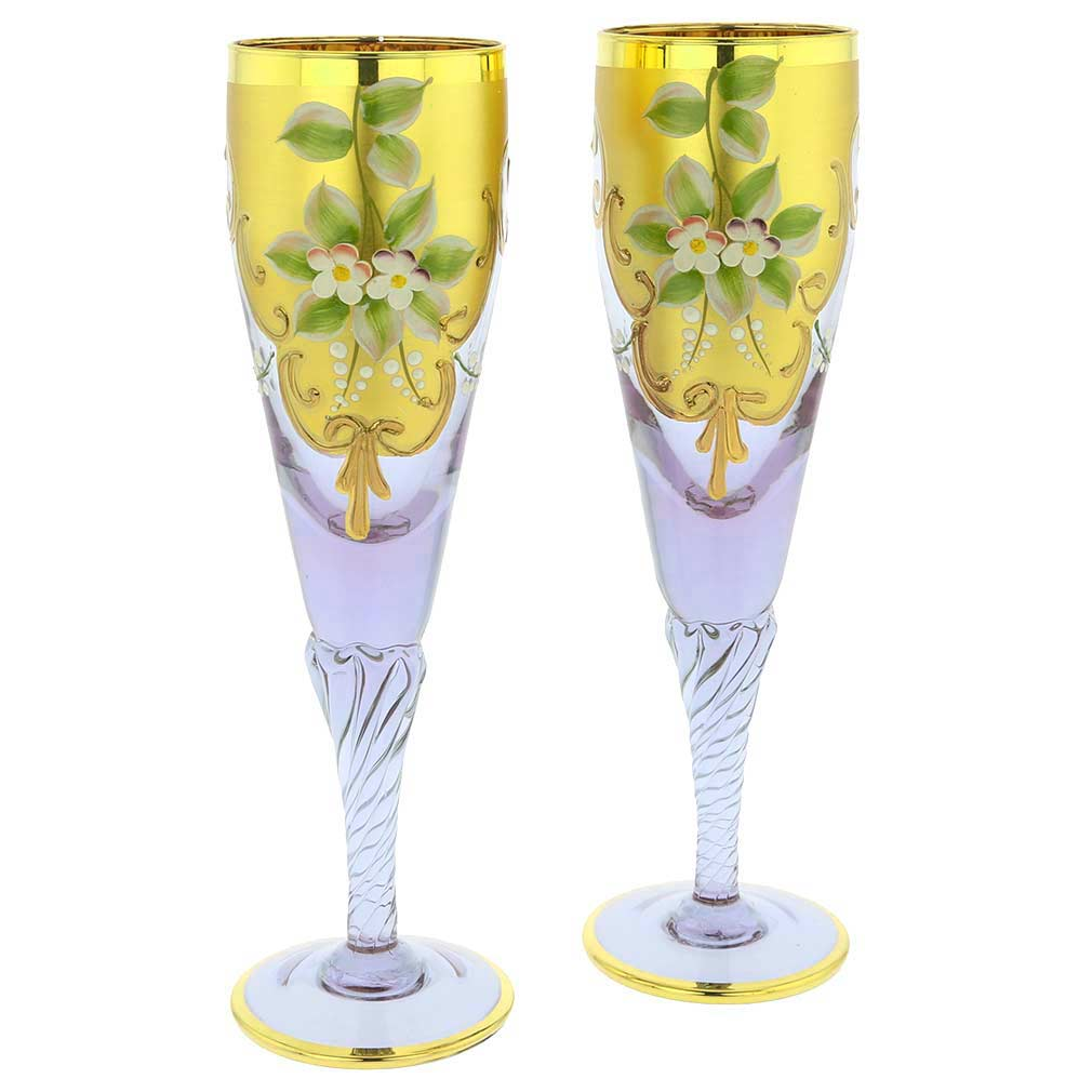 Set Of Two Murano Glass Champagne Flutes 24K Gold Leaf - Lavende