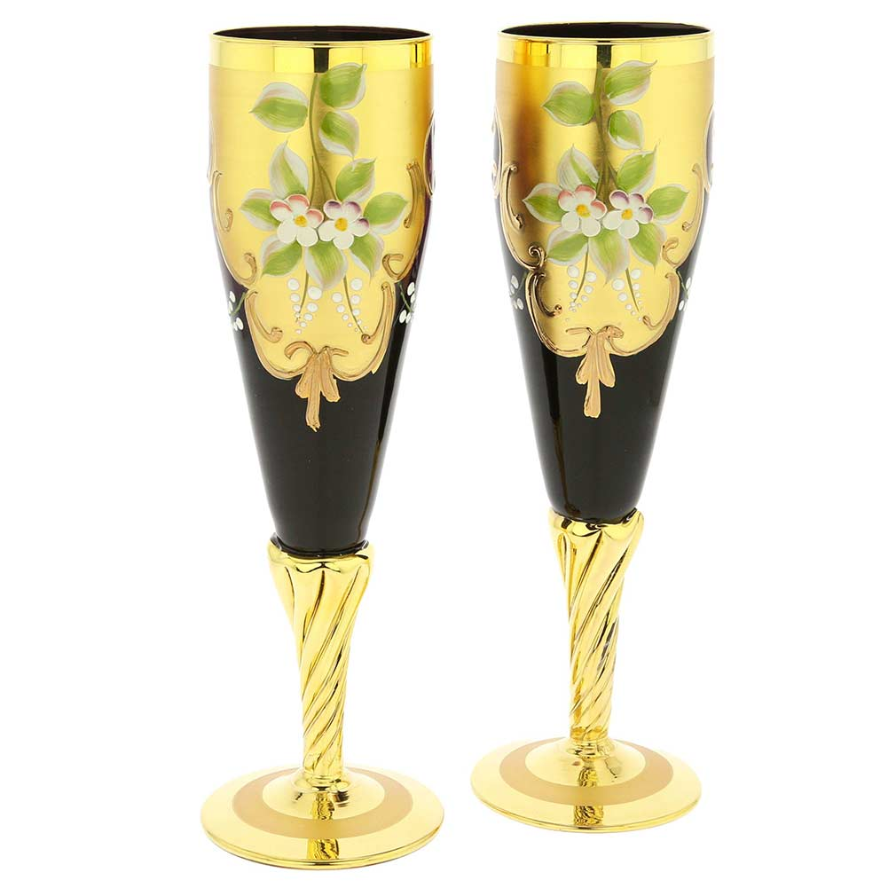 Set Of Two Murano Glass Champagne Flutes 24K Gold Leaf- Amethyst