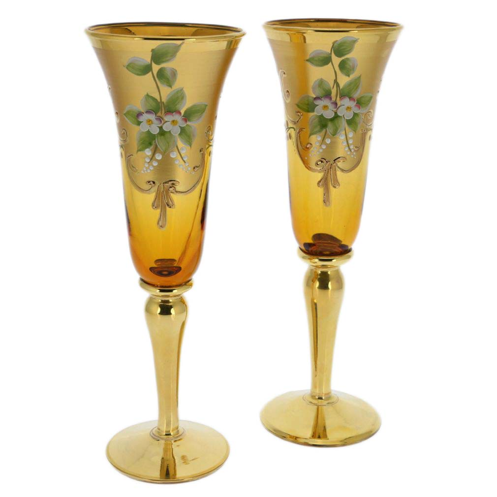 Set of Two Murano Glass Champagne Flutes 24K Gold Leaf- Amber