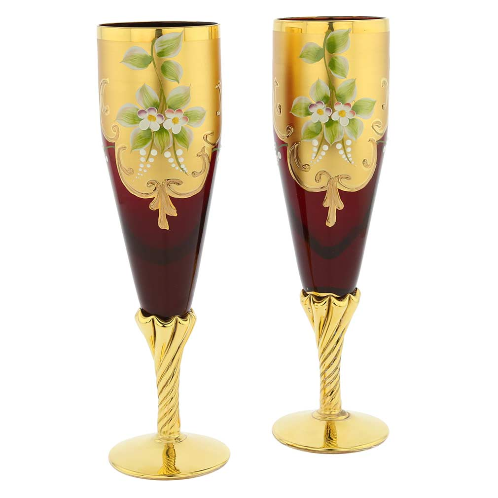 Set Of Two Murano Glass Champagne Flutes 24K Gold Leaf- Red