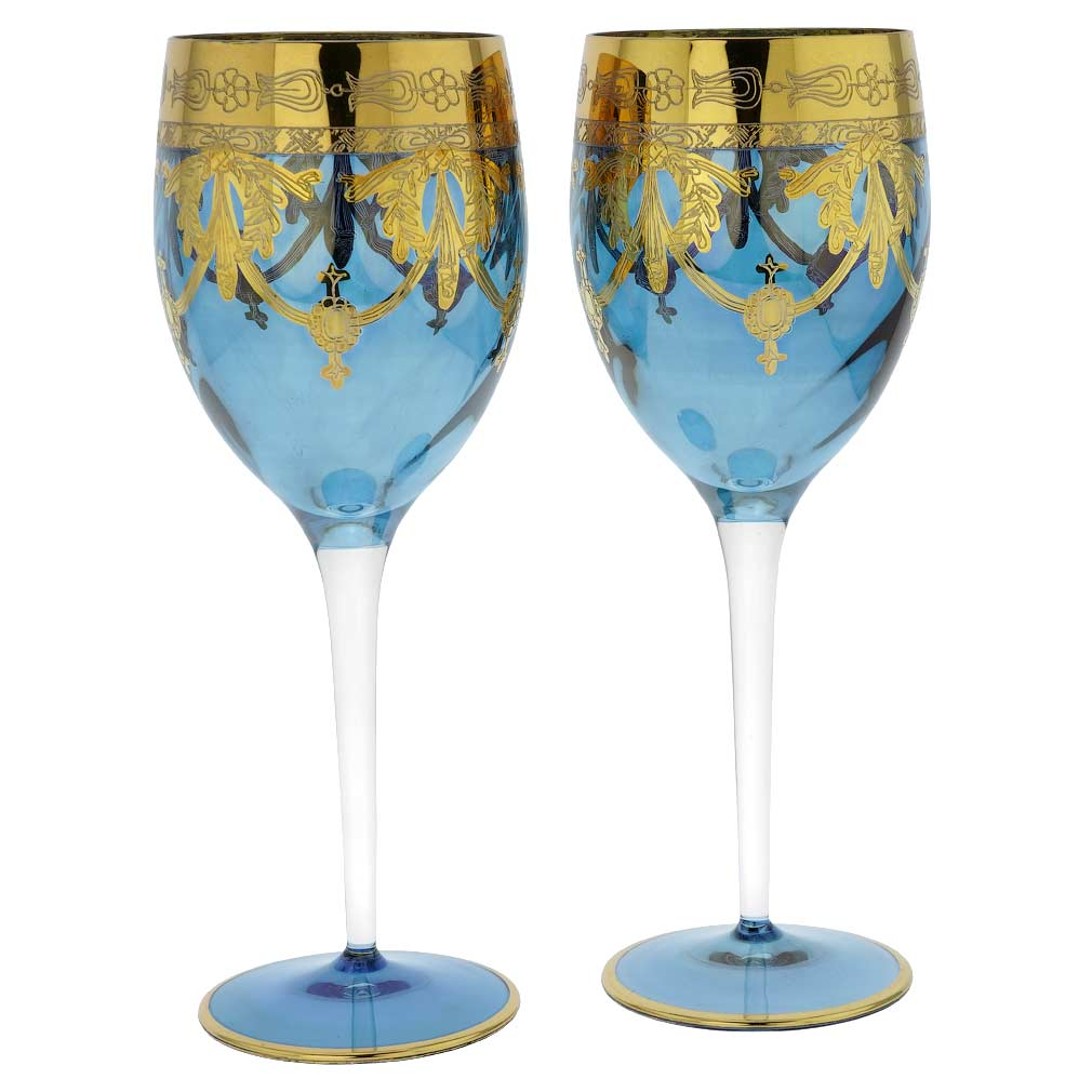 Set Of Two Murano Glass Wine Glasses - Blue