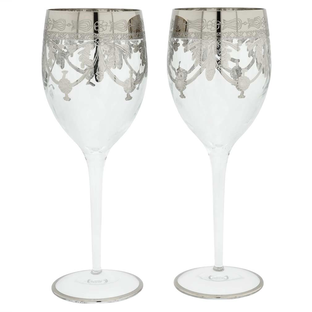Set Of Two Murano Glass Wine Glasses - Transparent