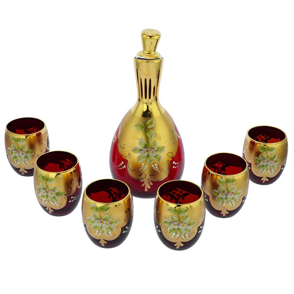 Murano Glass Decanter Set With Six Wine Glasses Tumblers 24K Gold Leaf - Red
