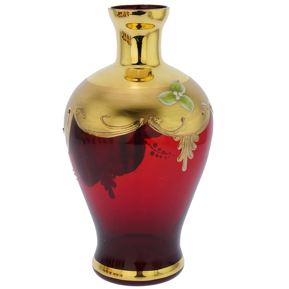 Murano Glass Decanter Set With Six Small Glasses 24K Gold Leaf - Red