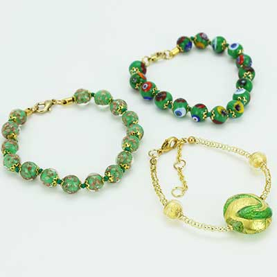 Green Murano Glass Bracelets