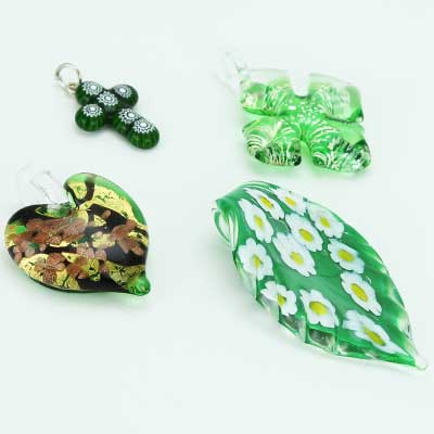 Green Murano Glass Pendants